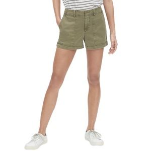 Gap Army Green Utility Cargo Linen Shorts